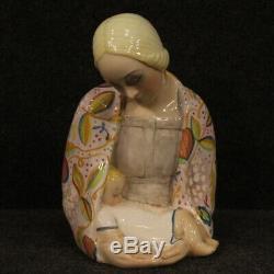 Sculpture italienne statue en céramique peinte style ancien IGNI meuble