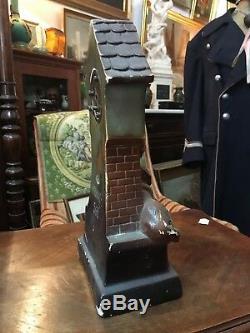 Sculpture pendule ancienne platre polychrome ES tu Bien fillette chien 19ème