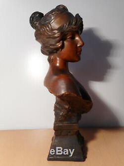 Sculpture statue ancienne platre Tanagra E VILLANIS portrait buste jeune femme