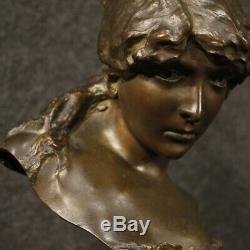 Sculpture statue en bronze ciselé français objet buste visage femme ancien 900