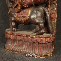Sculpture statue indienne en bois style ancien divinité art objet autel 900
