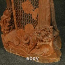 Sculpture statue oriental en bois pêcheur style ancien salon