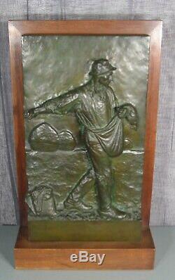 Semailles Le Paysan Sculpture Ancienne Bronze Signé Felix Desruelles Barbedienne