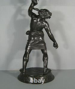 Silène Ivre Bacchus Satyre Sculpture Bronze Antique Ancien Fonderie Chiurazzi