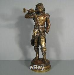 Soldat 1870 Fantassin Au Clairon Ancienne Sculpture Bronze Signé Charles Anfrie