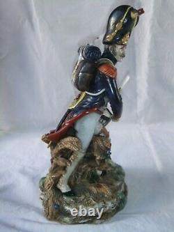 Soldat ancien porcelaine grenadier garde impériale 34 cm statue estampille