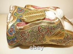 Statue Ancienne Boudha Satsuma Signee Ancient Religious Statue Signed