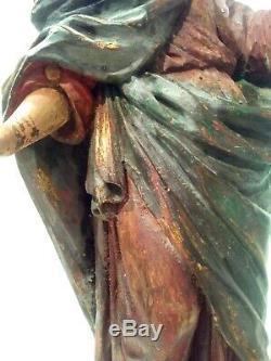Statue Ancienne En Bois Sculpté Xvii°