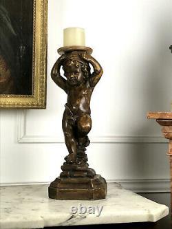 Statue Ancienne En Ceramique Imitation Bois A Decor De Putto Debout De 49 CM