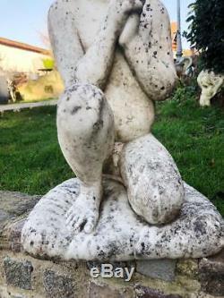 Statue Ancienne En Marbre Representant Un Cherubin Putti De 70 CM De Haut