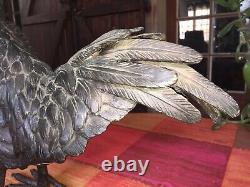 Statue Ancienne Superbe Coq En Bronze XIXème 6,580 Kg