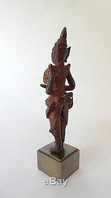 Statue Ancienne en Bronze KINNARA Musicien Céleste BIRMANIE 18ème siècle