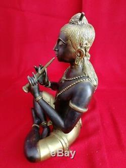 Statue Asiatique en Bronze, Musicien. Sculpture. Ancien