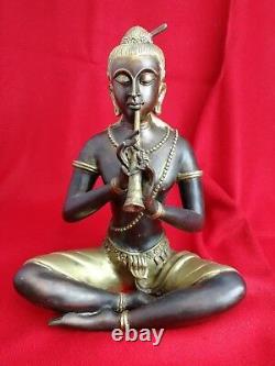 Statue Asiatique en Bronze, Musicien. Sculpture. Ancien. 4 kg