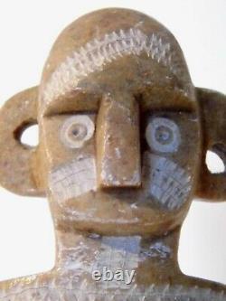 Statue D'art Sculpture Maya Précolombienne Ancienne Et Rare En Marbre Splendide