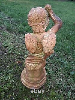 Statue De Jardin Ancienne En Fonte Angelot