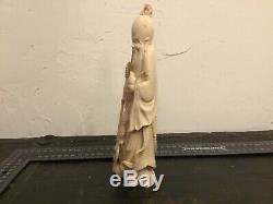 Statue Japonaise, Sculpture ancienne Japon. Netsuke, okimono. 21 cm