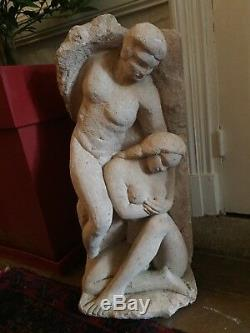 Statue Sculpture Ancienne Marius Bruel Couple Enlacé Annéé 70 Museable