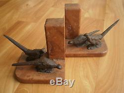 Statue Sculpture Animal Bronze Ancien Faisan Poule Serre Livre Chasse Book End