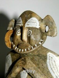 Statue Sculpture Maya Précolombienne Très Ancienne Et Rare En Marbre Splendide