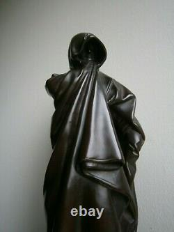 Statue Terre Cuite Ancien Prieur Deco Sculpture Religieuse Moine