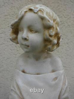 Statue ancienne plâtre ENFANT A LA BÛCHE de Michel Pascal H 39 cm P 3 kg