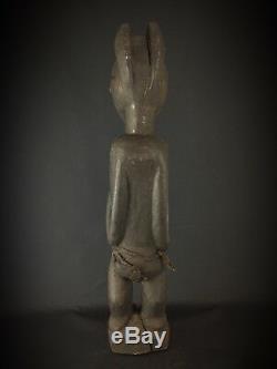 Statue bois ancienne Baoulé Art Afrique Africain Collection Objet Usuel 78 cm