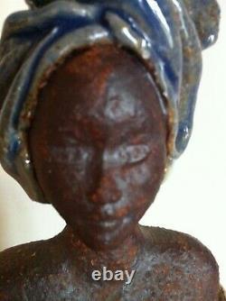 Statue céramique ancienne sculpture vintage orientaliste signée