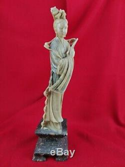 Statue en Pierre dure, Asie, Jade et Marbre H. 36 cm. Sculpture ancienne