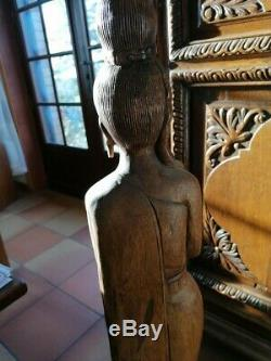 Statue indonésienne sculpture ancienne en bois divinité