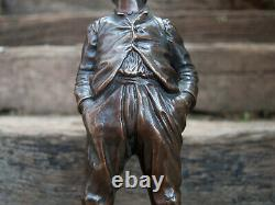 Statue le Siffleur bronze ancienne, Sculpture enfant fin XIXe siècle HERTZBER