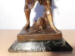 Statue sculpture ancienne regule homme Emile Louis PICAUT Rameau Travail