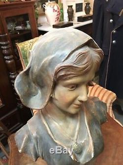 Statue sculpture buste ancienne platre polychrome Lorette signée AC Paris 19ème