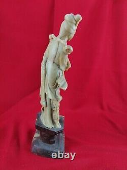 Statue sculpture en pierre dure Asie Jade et marbre XIXeme H. 36 cm ancien