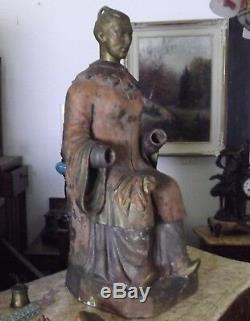Statue sculpture terre cuite divinité asiatique Bouddha asie XIXeme dieux ancien