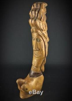 Statuette en bois de noyé, ancienne insolite de style Salvador Dali signé/50cm