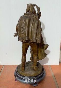 Superbe Ancienne STATUETTE 19eme en RÉGULE à Patine Bronze Signée ROUSSEAU
