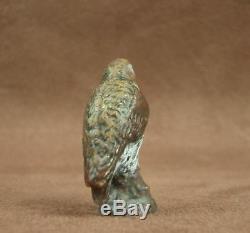 Superbe Petit Sujet Ancien Bronze De Vienne Polychrome Oiseau Rapace Buse