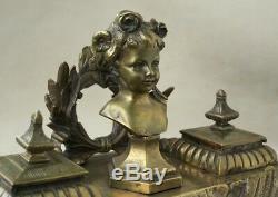 Superbe ancien encrier en bronze, agrémenté d'un buste de jeune fille époque 19è