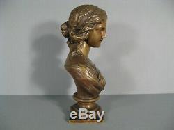 Susse Frères Éditeur Buste Jeune Femme Sculpture Ancienne Bronze Signé Lepind