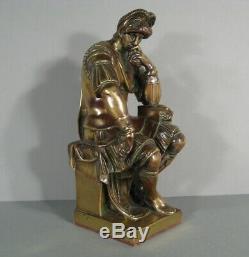 Susse Frères Laurent De Médicis Sculpture Ancienne Bronze Daprès Michel Ange