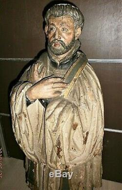 TRES ANCIENNE STATUE RELIGIEUX EN BOIS PEINT/SAINT FRANCOIS XAVIER/H. 90cm/XIXème