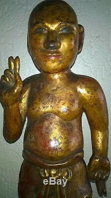 Très Ancien Bouddha Enfant en bois laqué XIX