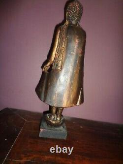 Très Ancien Bouddha bois laqué XIX h 44 cm incrustation petite perles en verr