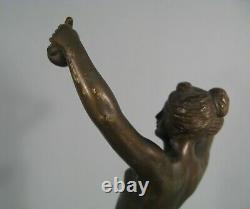 Venus A La Pomme D'or Femme Nue Sculpture Ancienne Bronze Signé Otto Rasmussen