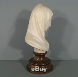 Vierge Marie Madone Sculpture Statue Buste Ancien En Albtre Daprès Donatello