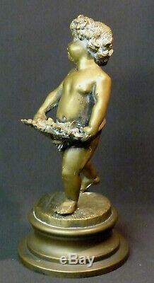 ZZ 19èm belle sculpture ancienne statuette Bacchus enfant bronze 2.4kg29c statue