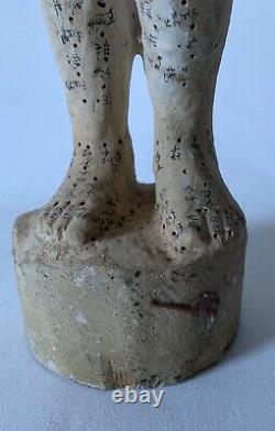 (i08) Ancienne Statue Femme Acupuncture Medecine Japonaise En Bois