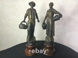 #yd# 2 Ancienne Statue en régule signée Henri TREMO, béarnaise et béarnais